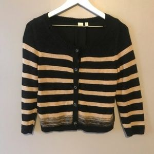Moth Striped Cardigan Sweater Size S